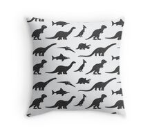 Dinosaurs silhouettes Throw Pillow
