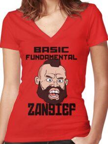 Basic fundamental Zangief  Women's Fitted V-Neck T-Shirt