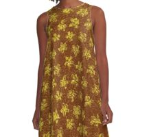 Vintage Floral Yellow and Brown A-Line Dress