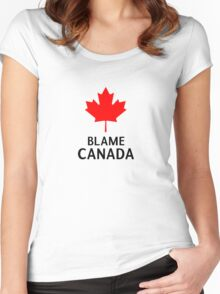 Blame Canada South Park Bigger Longer And Uncut Funny Quote Women's Fitted Scoop T-Shirt