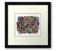 Abstract hand drawn ornament, background Framed Print