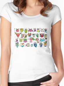 Funny birds, seamless pattern Women's Fitted Scoop T-Shirt
