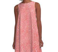 Vintage Triskle Celtic Trinity Knot Coral Peach A-Line Dress