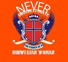 Never underestimate the power of a Nowergian woman Womens Fitted T-Shirt