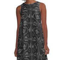 Vintage Leaf and Vines Charcoal Gray Black A-Line Dress