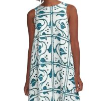 Vintage Leaf and Vines Green and White A-Line Dress