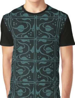 Vintage Leaf and Vines Turquoise Teal and Black Graphic T-Shirt