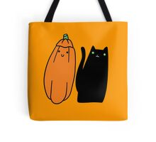 Long Black Cat and Pumpkin Tote Bag