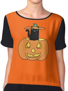 Black Cat inside Jack o' Lantern Chiffon Top