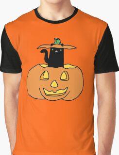 Black Cat inside Jack o' Lantern Graphic T-Shirt