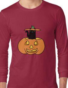 Black Cat inside Jack o' Lantern Long Sleeve T-Shirt