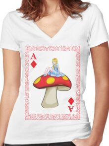 Alice's Playing Card in Wonderland Women's Fitted V-Neck T-Shirt