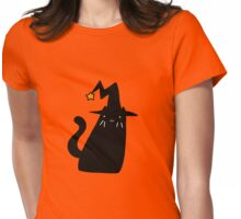 Witch Black Cat Womens Fitted T-Shirt