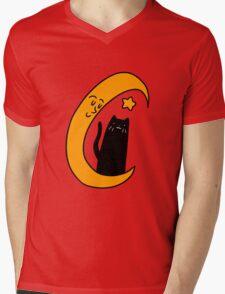 Crescent Moon Star and Black Cat Mens V-Neck T-Shirt