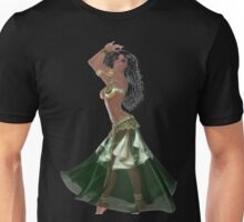 African American Arabic Brazilian Belly Dancer Wearing Green and Golden Belly Dance Clothing 'bedlah' Unisex T-Shirt