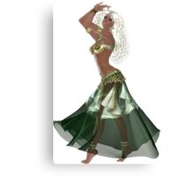 African American Arabic Brazilian Belly Dancer Woman with Blond Curly Hair Wearing Green and Golden Belly Dance Clothing 'bedlah' Canvas Print