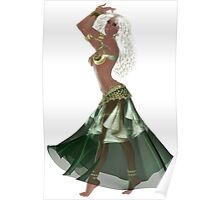 African American Arabic Brazilian Belly Dancer Woman with Blond Curly Hair Wearing Green and Golden Belly Dance Clothing 'bedlah' Poster