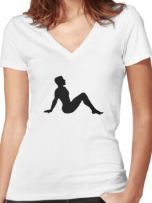 Mudflap Man Women's Fitted V-Neck T-Shirt