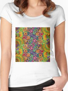 Zentangle Design Tropical Flowers Women's Fitted Scoop T-Shirt