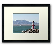 Red and White Lighthouse Lake Havasu  Framed Print