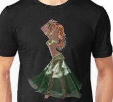 African American Arabic Brazilian Belly Dancer Woman with Red Curly Hair Wearing Green and Golden Belly Dance Clothing 'bedlah' Unisex T-Shirt