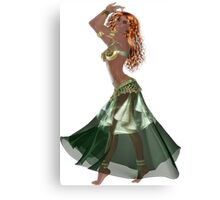 African American Arabic Brazilian Belly Dancer Woman with Red Curly Hair Wearing Green and Golden Belly Dance Clothing 'bedlah' Canvas Print