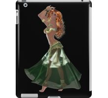 African American Arabic Brazilian Belly Dancer Woman with Red Curly Hair Wearing Green and Golden Belly Dance Clothing 'bedlah' iPad Case/Skin