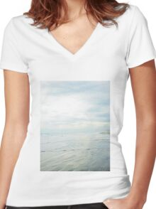 Shimmery Blue - Sand, Sea, Sky Women's Fitted V-Neck T-Shirt
