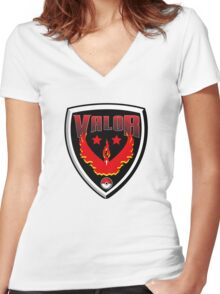 Pokemon Go! Team Valor Shield Women's Fitted V-Neck T-Shirt