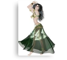 Pretty Brunette American Brazilian Arabic  Woman with Beautiful Long and Curly Hair , Belly Dancer Wearing Golden and Green Belly Dance Clothing 'bedlah' Canvas Print