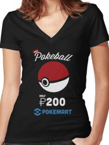Pokemon Pokeball Pokemart Ad Women's Fitted V-Neck T-Shirt