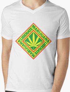 Liberate Marijuana Mens V-Neck T-Shirt