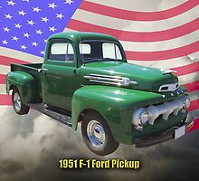 Green 1951 Ford F-1 Pickup With American Flag by KWJphotoart