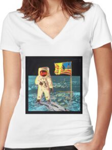 Moon Walk - Andy Warhol Women's Fitted V-Neck T-Shirt