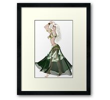 Pretty Blond American Brazilian Arabic  Woman with Beautiful Long and Curly Hair , Belly Dancer Wearing Golden and Green Belly Dance Clothing 'bedlah' Framed Print