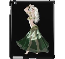 Pretty Blond American Brazilian Arabic  Woman with Beautiful Long and Curly Hair , Belly Dancer Wearing Golden and Green Belly Dance Clothing 'bedlah' iPad Case/Skin