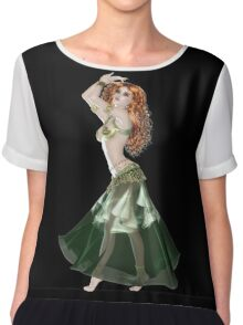 Pretty RedHead American Brazilian Arabic  Woman with Beautiful Long and Curly Hair , Belly Dancer Wearing Golden and Green Belly Dance Clothing 'bedlah' Chiffon Top
