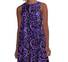 Vintage Swirl Floral Purple and Black A-Line Dress