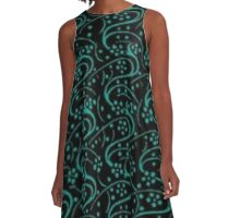 Vintage Swirl Floral Turquoise and Black A-Line Dress