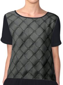 Woven Leather Texture Design Chiffon Top