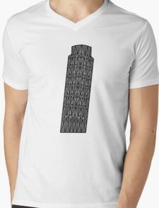 Geometric tower of Pisa in grey with black outline Mens V-Neck T-Shirt