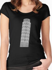 Geometric tower of Pisa in grey with white outline Women's Fitted Scoop T-Shirt