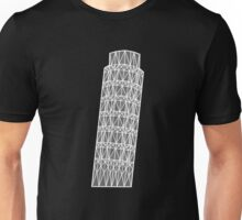 Geometric tower of Pisa in grey with white outline Unisex T-Shirt