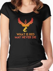 """Pokemon GO: Team Valor: """"WHAT IS RED MAY NEVER DIE!"""" (Red Team) Women's Fitted Scoop T-Shirt"""