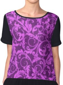 Vintage Swirls Winterberry and Orchid Purple Chiffon Top