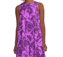Vintage Swirls Winterberry and Orchid Purple A-Line Dress