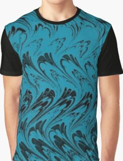 Vintage Waves Black and Turquoise Teal  Graphic T-Shirt