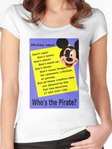 Mickey Mouse lies about copyright Women's Fitted Scoop T-Shirt