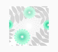 Mint Green garden flowers and Leaves pattern, spiral floral Womens Fitted T-Shirt