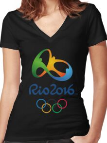 rio 2016 olympiade Women's Fitted V-Neck T-Shirt